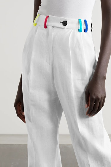 Color-Block Pleated Linen Straight-Leg Pants