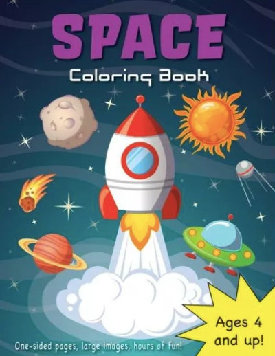 A coloring book all about space