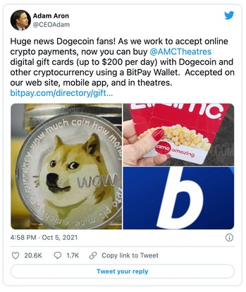 AMC Theaters will now let customers buy gift cards using Dogecoin and other cryptocurrencies.