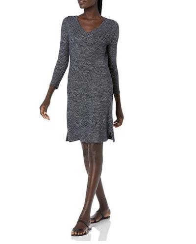 Daily Ritual Women's Cozy Knit 3/4-Sleeve V-Neck Dress
