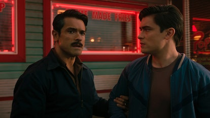 Mark Consuelos as Javier Luna and Michael Consuelos as Young Hiram in The CW's 'Riverdale'