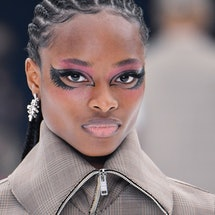 A model walks the runway during the Givenchy Ready to Wear Spring/Summer 2022 fashion show as part o...