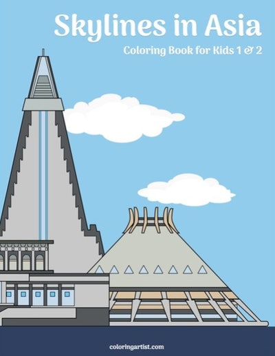 A coloring book filled with skyline illustrations of Asia