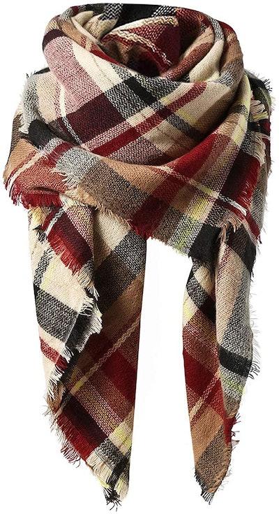 American Trends Plaid Blanket Scarf