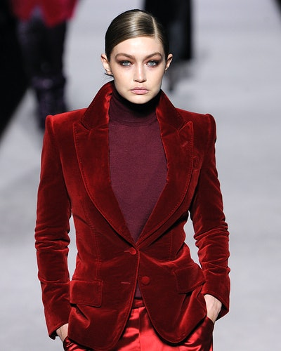 Gigi Hadid during Tom Ford's Autumn/Winter 2019-2020 collection.