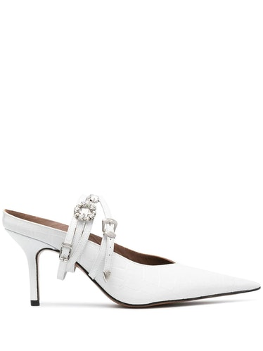 Belt Pointed Toe Mules