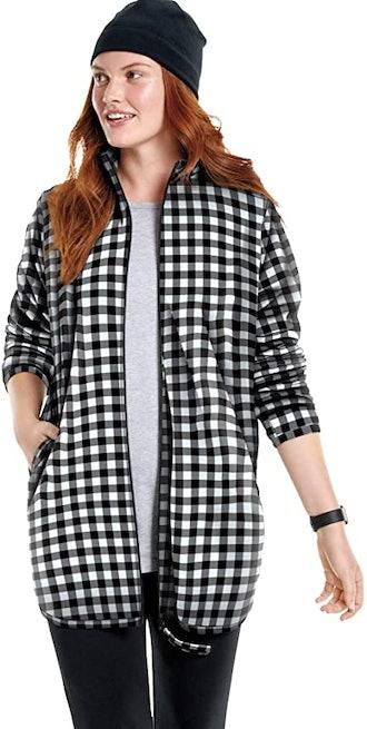 Woman Within Plus Size Zip-Front Microfleece Jacket Fleece