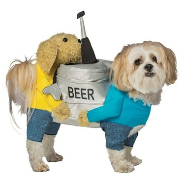 This Halloween Express 2021 pet costume looks like two dog carrying a keg of beer.