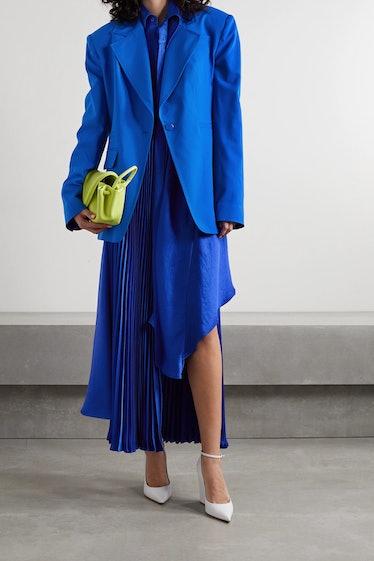 Asymmetric Pleated Satin Skirt