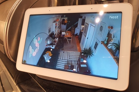 Google Nest Cam with battery showing on a display