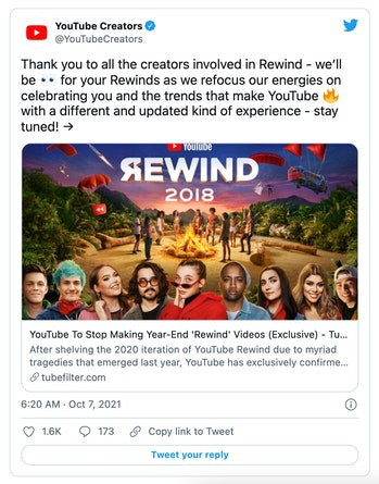 YouTube announced it has discontinued its Rewind annual round-up video.