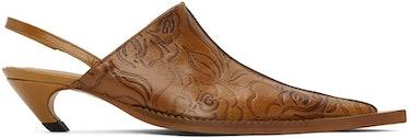 Tan Embossed Leather Sling Back Heeled Mule