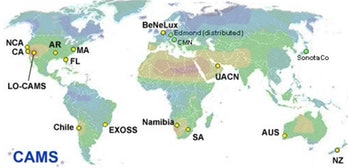 The worldwide CAMS meteor network.