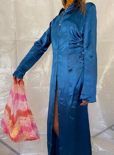 Ruched Silk Mashroo Dress