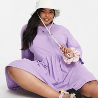 ASOS DESIGN Curve Oversized Mini Smock Dress with Dropped Waist in Lilac