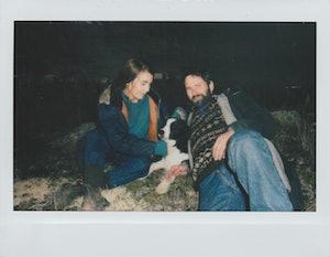 Rapace with co-star Hilmir Snær Guðnason and their onscreen dog.