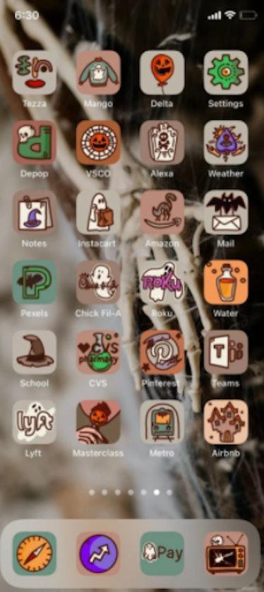 These new iOS Halloween Home screen ideas include a creepy skeleton theme.