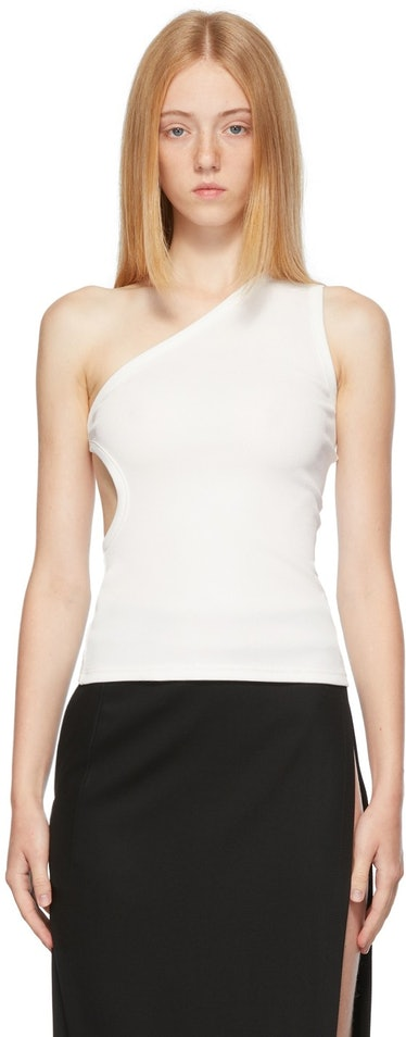White One Shoulder Cut-Out Tank Top
