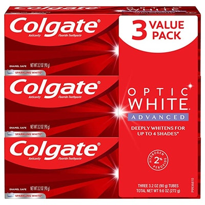 Colgate Optic White Advanced Teeth Whitening Toothpaste with Fluoride (3-Pack)