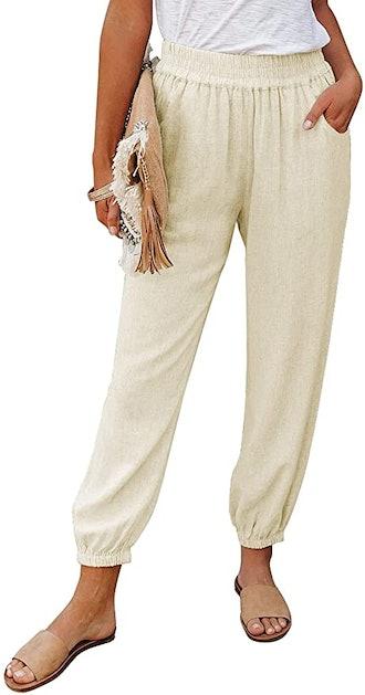 Dokotoo Elastic Waist Comfy Jogging Jogger Pants with Pockets
