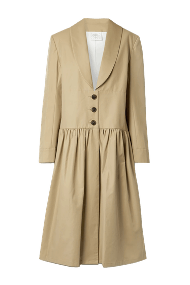 Pleated Cotton Blend Twill Coat
