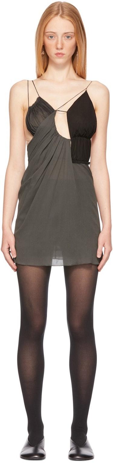 SSENSE Exclusive Grey Drape Triangle Bra Dress