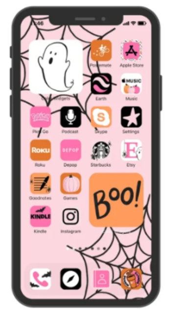 These new Halloween iOS Home screen ideas include cute ghosts.