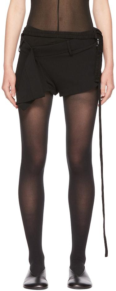 SSENSE Exclusive Black Draped Mini Shorts