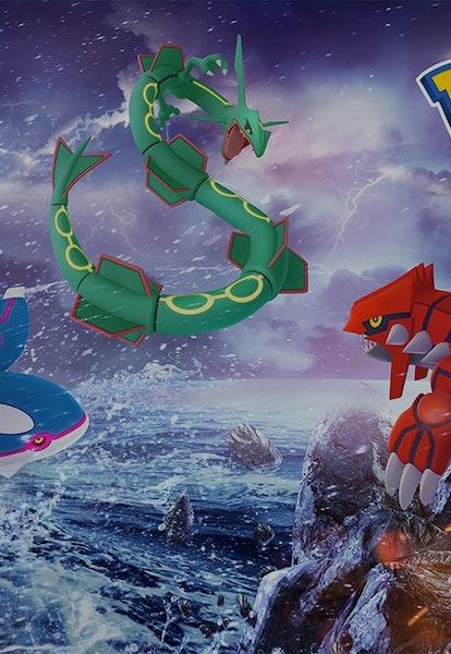 Rayquaza Legendary Pokémon in Pokémon Go promo art