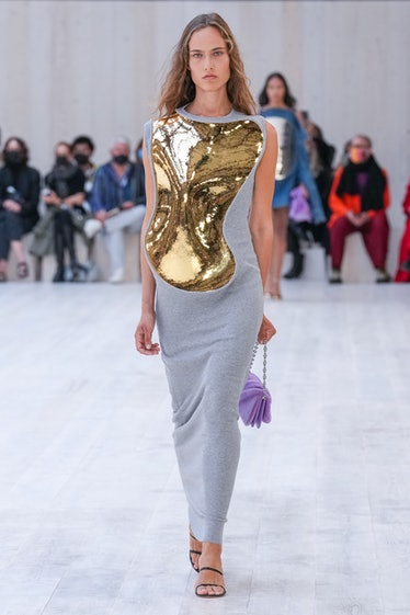 A model walks the runway during the Loewe Womenswear Spring/Summer 2022 show