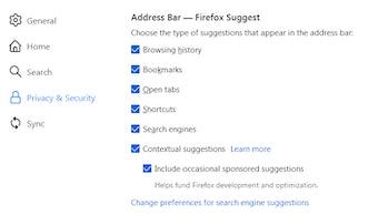 Managing Firefox Suggest settings