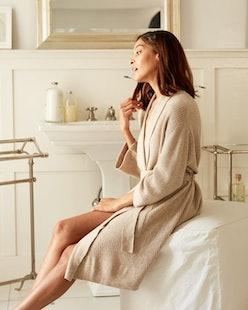 Model in NAADAM robe.