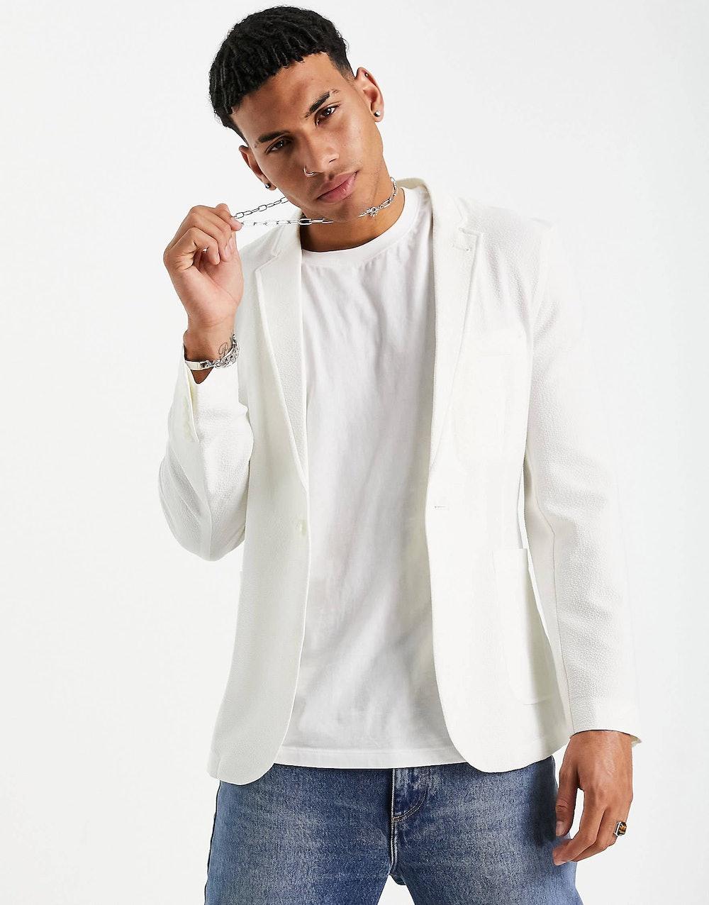 Soft Tailored Super Skinny Blazer in White Seersucker