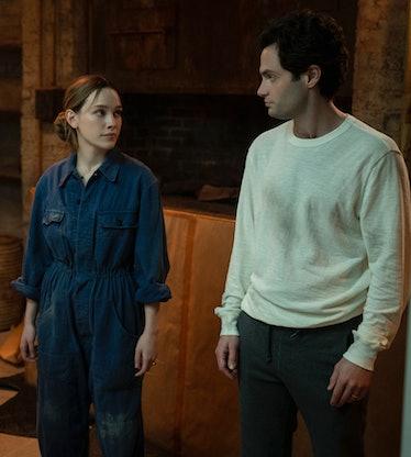 VICTORIA PEDRETTI as LOVE QUINN and PENN BADGLEY as JOE GOLDBERG in Netflix's 'You'