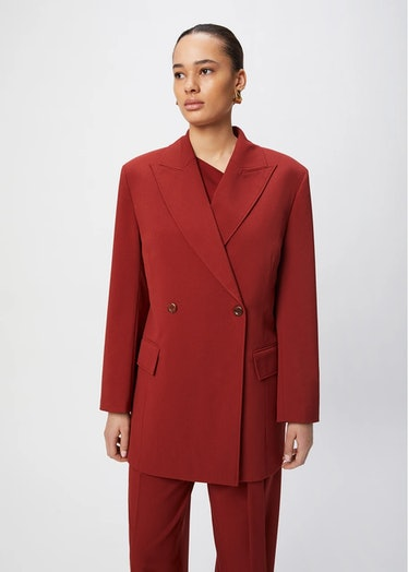Bianca Double-Breasted Blazer in Bordeaux from Aeron.