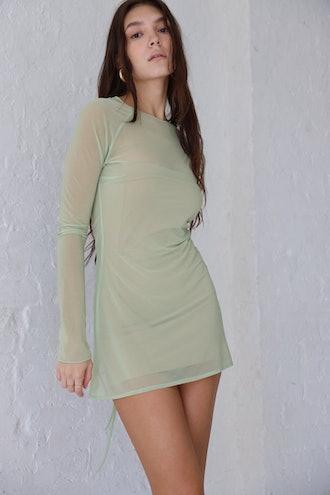 Sheer Raglan Dress Pistachio