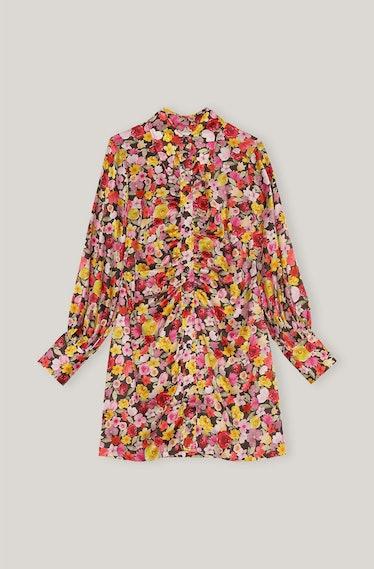 GANNI's floral-printed shirt mini dress.