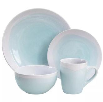 American Atelier 16pc Stoneware Two-Tone Dinnerware Set White/Green