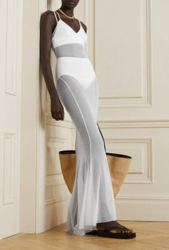 Fishtail Stretch-Mesh Maxi Dress