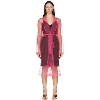 Pink Mesh Mid-length Dress In 304 Fuchsia