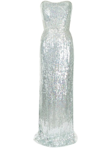 Sequin-embellished strapless gown from Jenny Packham, available to shop on Farfetch.