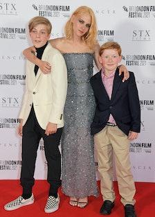 "Jacki Nielen, Kristen Stewart and Freddie Spry attend the UK Premiere of ""Spencer"""