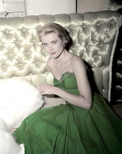 Grace Kelly in a green dress for St. Patrick's Day in 1954.