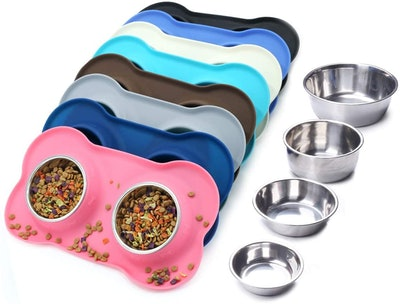 Vivaglory Dog Bowls with Silicone Mat