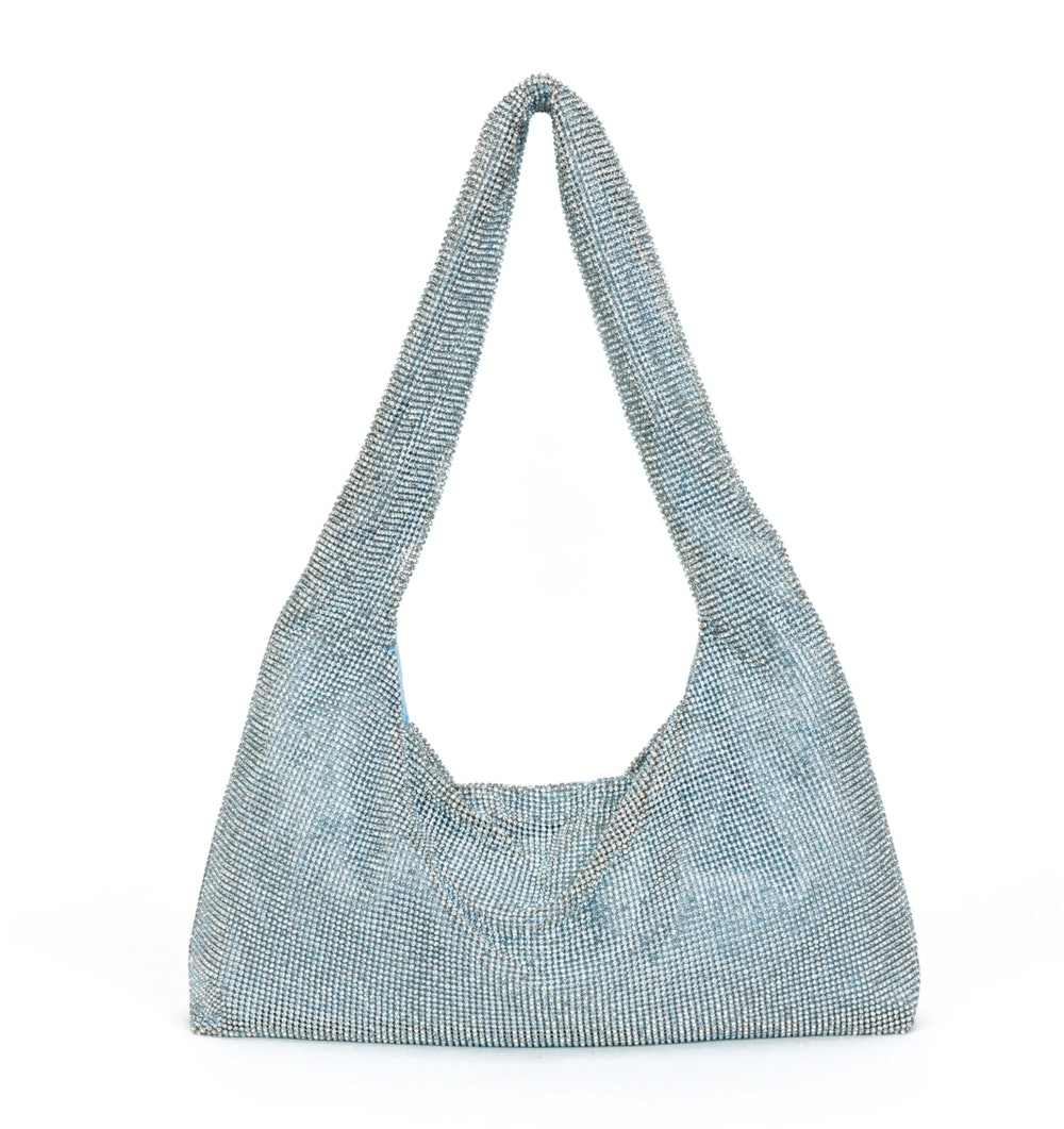 BLUE GLASS CRYSTAL MESH ARMPIT BAG