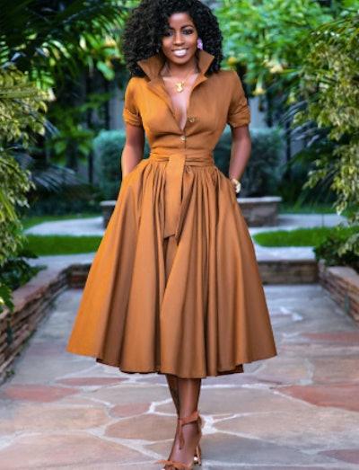 Orange A Line Summer Dress