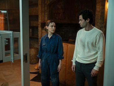 VICTORIA PEDRETTI as LOVE QUINN and PENN BADGLEY as JOE GOLDBERG in Netflix's 'You' Season 3
