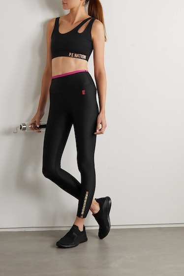 Steady Run Zip-Detailed Recycled Stretch Leggings