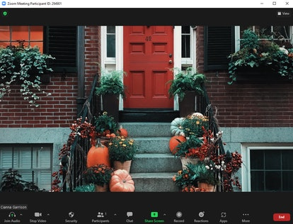 These fall Zoom backgrounds include a festive stoop with pumpkins.