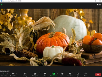 These fall Zoom backgrounds include a pretty pumpkin centerpiece.